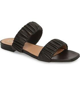 175-LEWIT-Elena-Ruched-Slide-Slides-Sandals-Flats-Black-Leather-Shoe-39-5