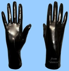 NEW-WOMENS-size-7-GENUINE-BLACK-PATENT-LAMBSKIN-LEATHER-SILK-LINED-GLOVES