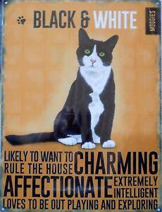 Placa-Metal-Publicidad-Vintage-Animal-Gato-Black-amp-White-Cats-40-X-30CM