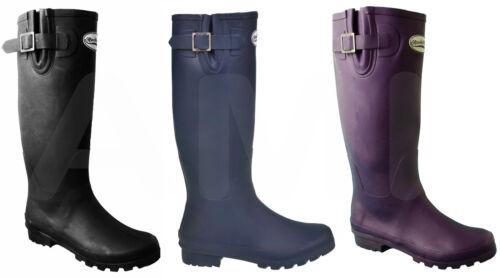 Rockfish Original Ladies Wellies Wellington Boots Black Purple Festival Wellys