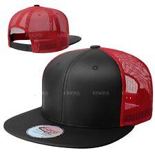 Leather Snapback Hat Hip Hop Baseball Cap Trucker Mesh Solid Plain Flat Bill Men