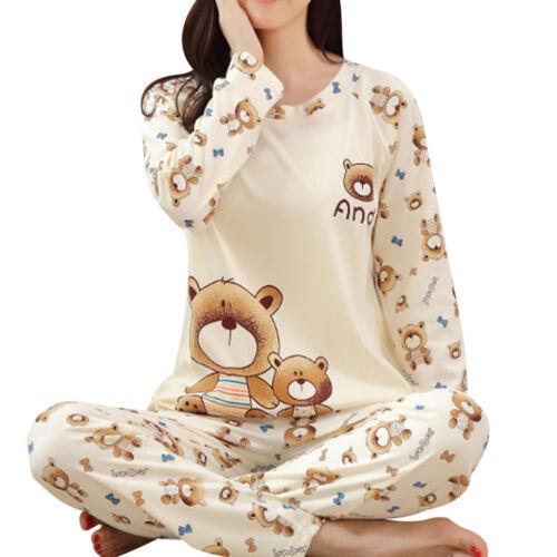Womens Cute Bear Print Pajamas Home Suit Long Sleeve Tops+Pants Set Sleepwear US