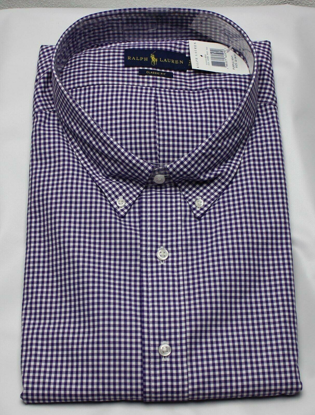 Polo Ralph Lauren Dress Shirt Mens 21 36 37 Classic Fit Purple White Green Pony