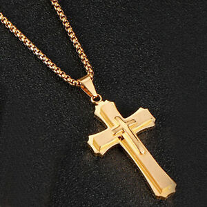 22-034-Wheat-Chain-Double-layer-Christ-Cross-Pendant-Necklace-Stainless-Steel-Men