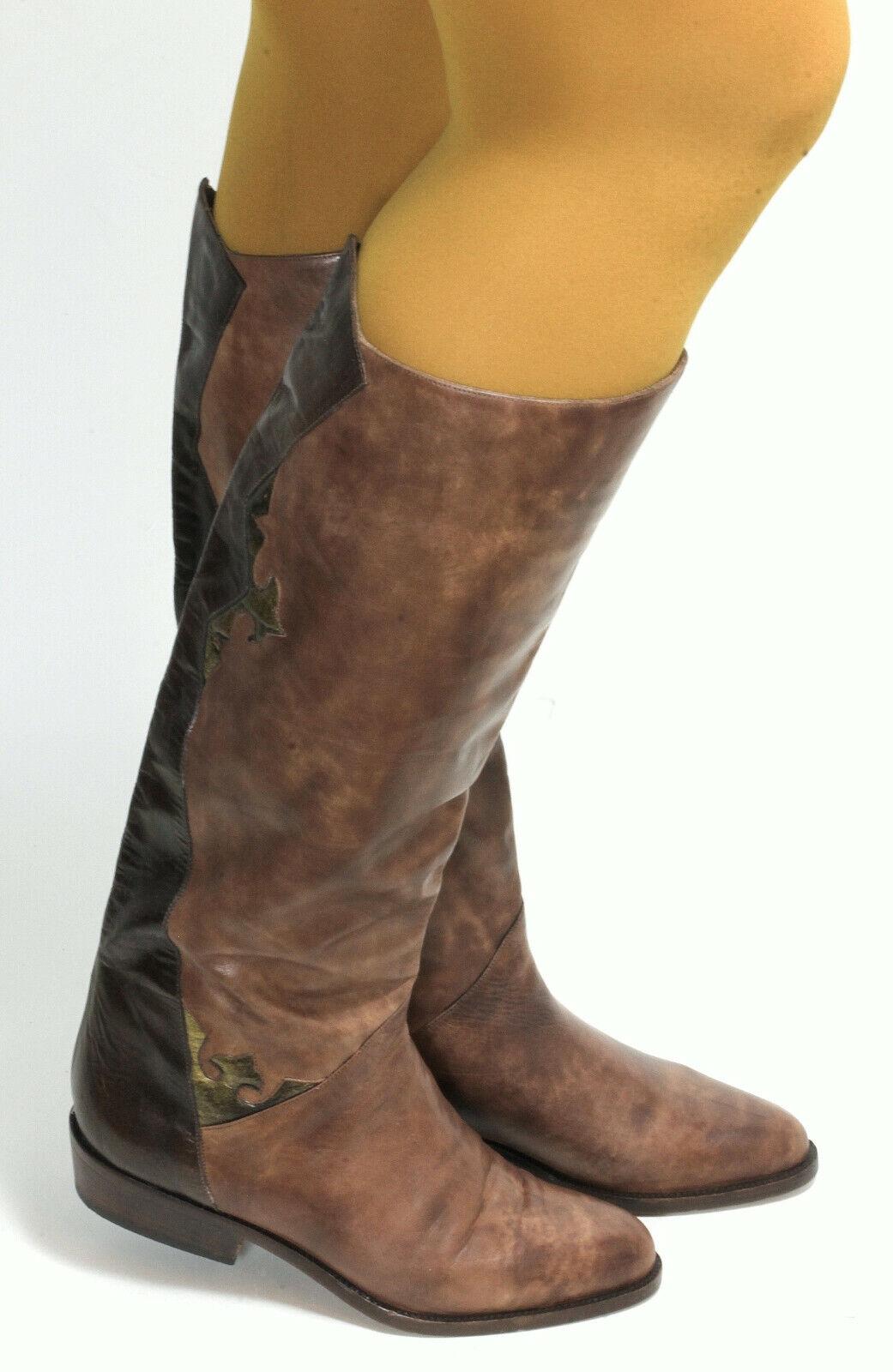 Elegante señora botas vintage botas de cuero oro jaspeadas Lang caña mujer 37