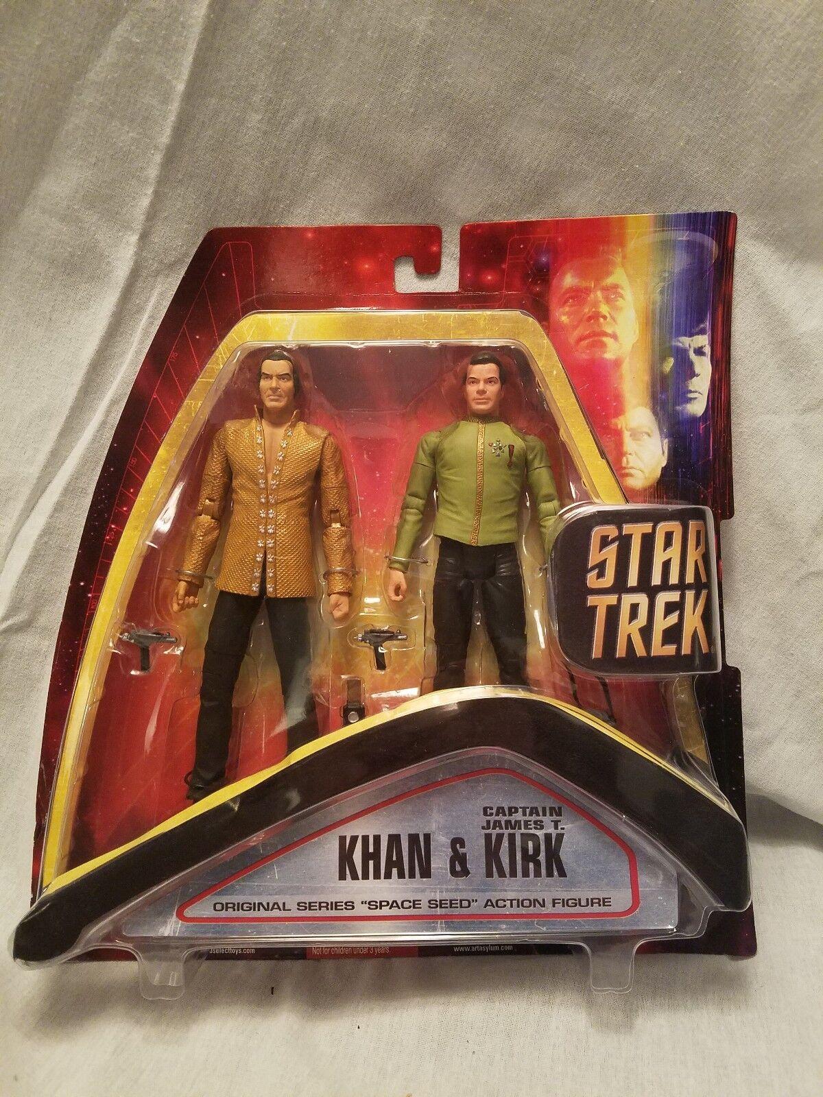 Stern Trek TOS Kirk Khan Space Seed 2 Verpackung Wirkung Figure Art Asylum NIP A1