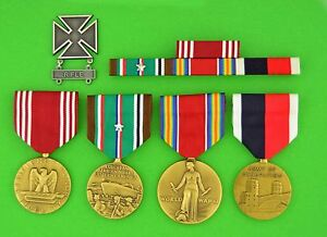 Army-WWII-European-Theater-Occupation-Medals-Ribbons-Badge-Campaign-Star-WW2