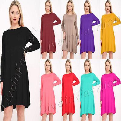 Women/'s Ladies Plain Skater Flared Swing Long Sleeve Dress Plus Size 8-26