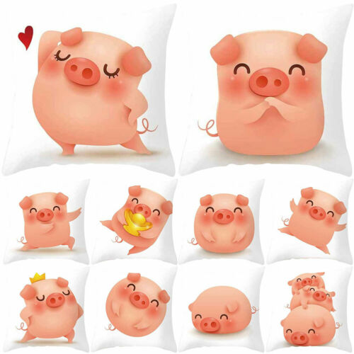 Cartoon Pig Square Pillow Case Cushion Cover Car Sofa Bed Pillow Protect GT HB
