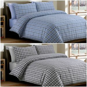 Bonton-Flannel-Plaid-100-Brushed-Cotton-Flannelette-Duvet-Cover-Bedding-Set