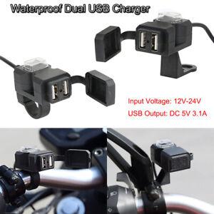 Dual-Chargeur-Prise-USB-Moto-Guidon-Interrupteur-Supports-Etanche-Pour-Phone-GPS