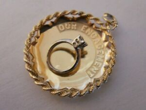 RARE-Vintage-14k-Yellow-amp-White-Gold-OUR-ENGAGEMENT-Bracelet-Charm-3-9-G-20036H