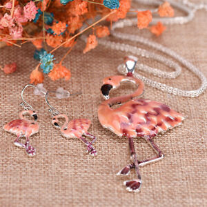 Pendant-Flamingo-Necklace-Earrings-Set-choker-New-Fashion-Women-Jewelry-Set-S-amp-K