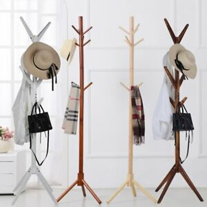 8-Hooks-4-Colors-Coat-Hat-Bag-Clothes-Rack-Stand-Tree-Style-Hanger-Wooden-IN