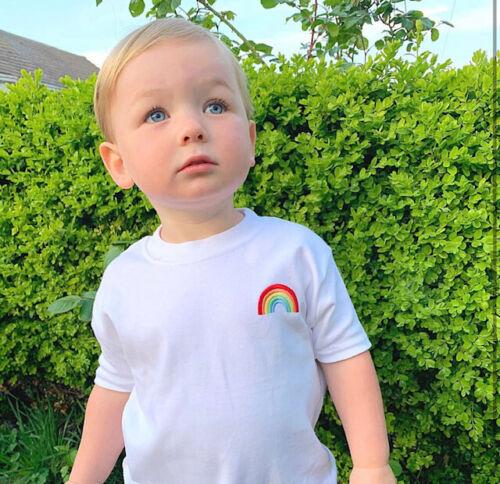 0M-adulti Children/'S Ricamato T-shirt Arcobaleno sostenere l/'NHS