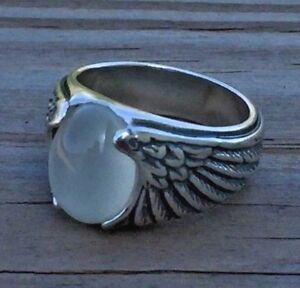 Eagle Wing Ring .925 Sterling Silver Sz 9 w/ Natural  Moonstone Wide eagle ring