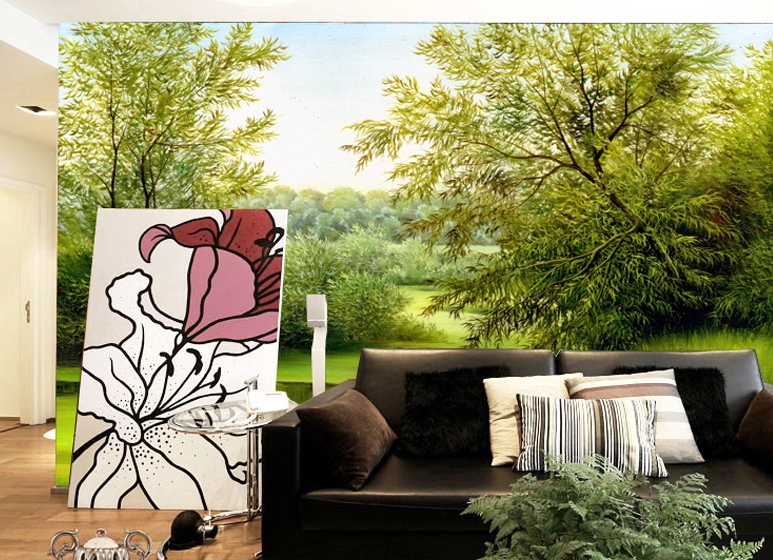 3D Swaying Trees 207 Wall Paper wall Print Decal Wall Deco Wall Indoor Murals