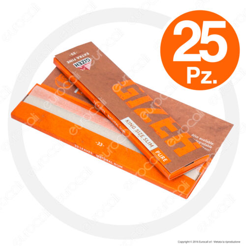 825 Cartine GIZEH PURE EXTRA FINE Lunghe Slim 25pz KingSize Non Sbiancate