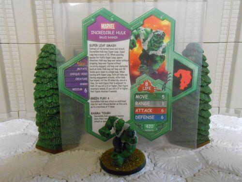 Heroscape Custom Incredible Hulk Dbl Sided Card & Fig w/ Sleeve Marvel Avengers
