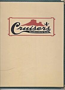 Older Restaurant Menu -CRUISERS Southwestern Grill-Grand Junction Colorado