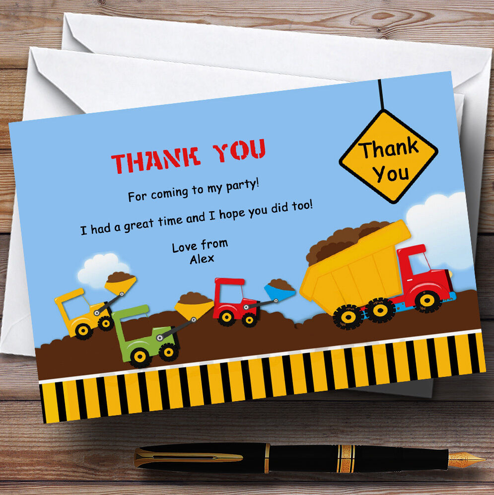 Construction Digger Personalised Birthday Party Thank You Cards Cards Cards 2aa82d