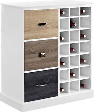 White Wine Cabinet Bar Storage Rack Bottle Holder Wood Multicolored Door Fronts