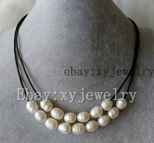 cultured 7-8mm white white rice fresh water pearl wedding party 4 row necklace