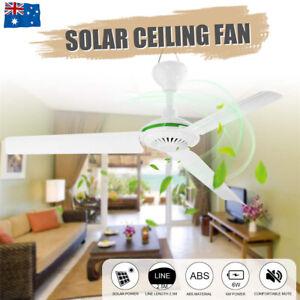 Solar Power Portable 12v Ceiling Fan 3 Blades 0 7amp Caravan Camping Outdoor Au Ebay