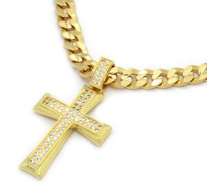 Mens-14k-Gold-Plated-Fully-Cz-2Line-Shade-Cross-Pendant-Hip-Hop-24-034-Cuban-Chain