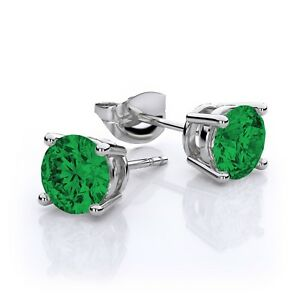 4-Ct-Emerald-8mm-Round-Stud-Earrings-White-Gold-Silver