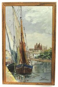 Impressionist Oil Ship and Cathedral Marine Painting Dalia