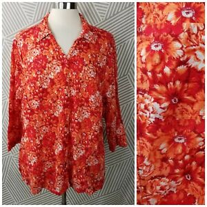 CJ-Banks-Plus-size-2X-18-20-Top-Floral-Daisy-Button-Up-shirt-Bright-Spring-shirt