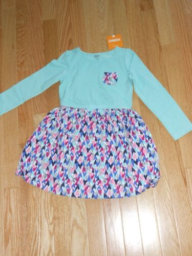 "NWT 18-24 mos Gymboree /""Mix n Match/"" long sleeved teal pocket hearts dress"