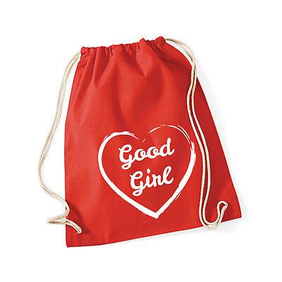 Baumwoll Turnbeutel mit Spruch Motiv  Good Girl  Hipster Jute Tasche Gym Bag