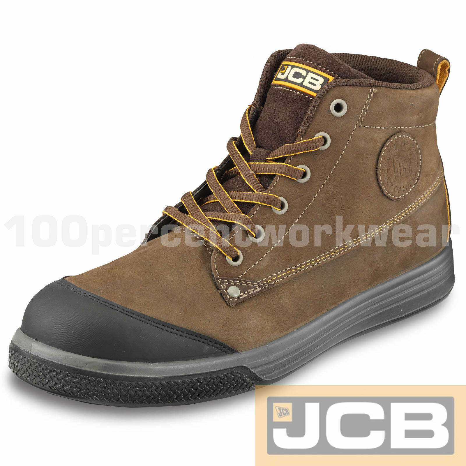 JCB 4CX BROWN Safety Leder S3 Work Trainers Cap Stiefel Baseball Composite Toe Cap Trainers e1ecb3