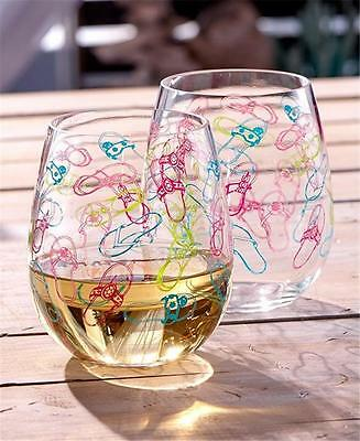 SET OF 2 DURABLE ACRYLIC FLIP FLOP SANDALS THEMED STEMLESS WINE GLASSES 16 OZ.