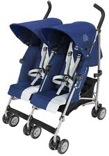 Maclaren Twin Triumph Lightweight Baby Double Stroller Medieval Blue / Silver