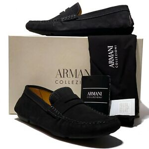 9b2c3254a01 NEW Armani Men s Black Leather Penny Loafers Driver s Suede Shoes ...