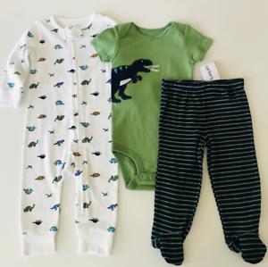 Carters Baby Boys Cotton Zip-Up Sleep N Play 4T, Dinosaur//White//Green