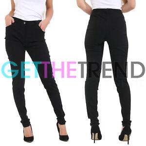 a05ceee56898 Girls High Waisted Black School Trousers Womens UK Stretch Skinny ...