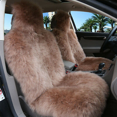 1pc Light Brown  Real Pelt Sheepskin Long Fur Car Seat Covers One Size Fit most