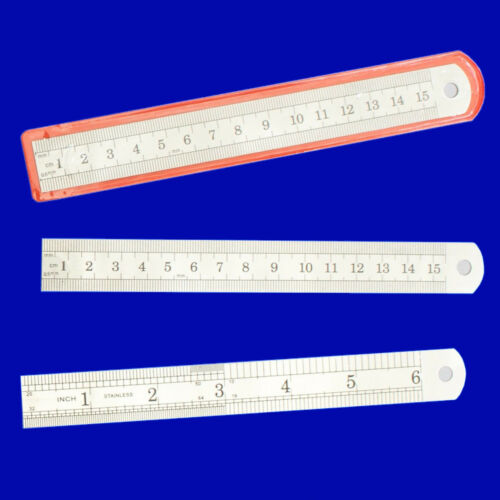 """12/"""" 30CM 300MM /& 6/"""" 15CM 150MM STAINLESS STEEL RULER METAL RULE METRIC IMPERIAL"""