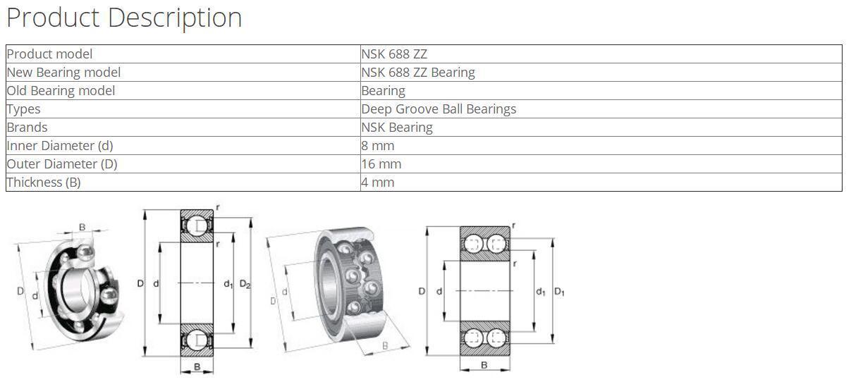 NSK 688ZZ Deep Groove Ball Bearings 8x16x4mma