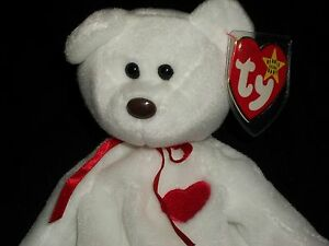 AH Ty White Beanie Baby Babies 1994 Valentino Bear With Red Heart ... 180ad7a66009