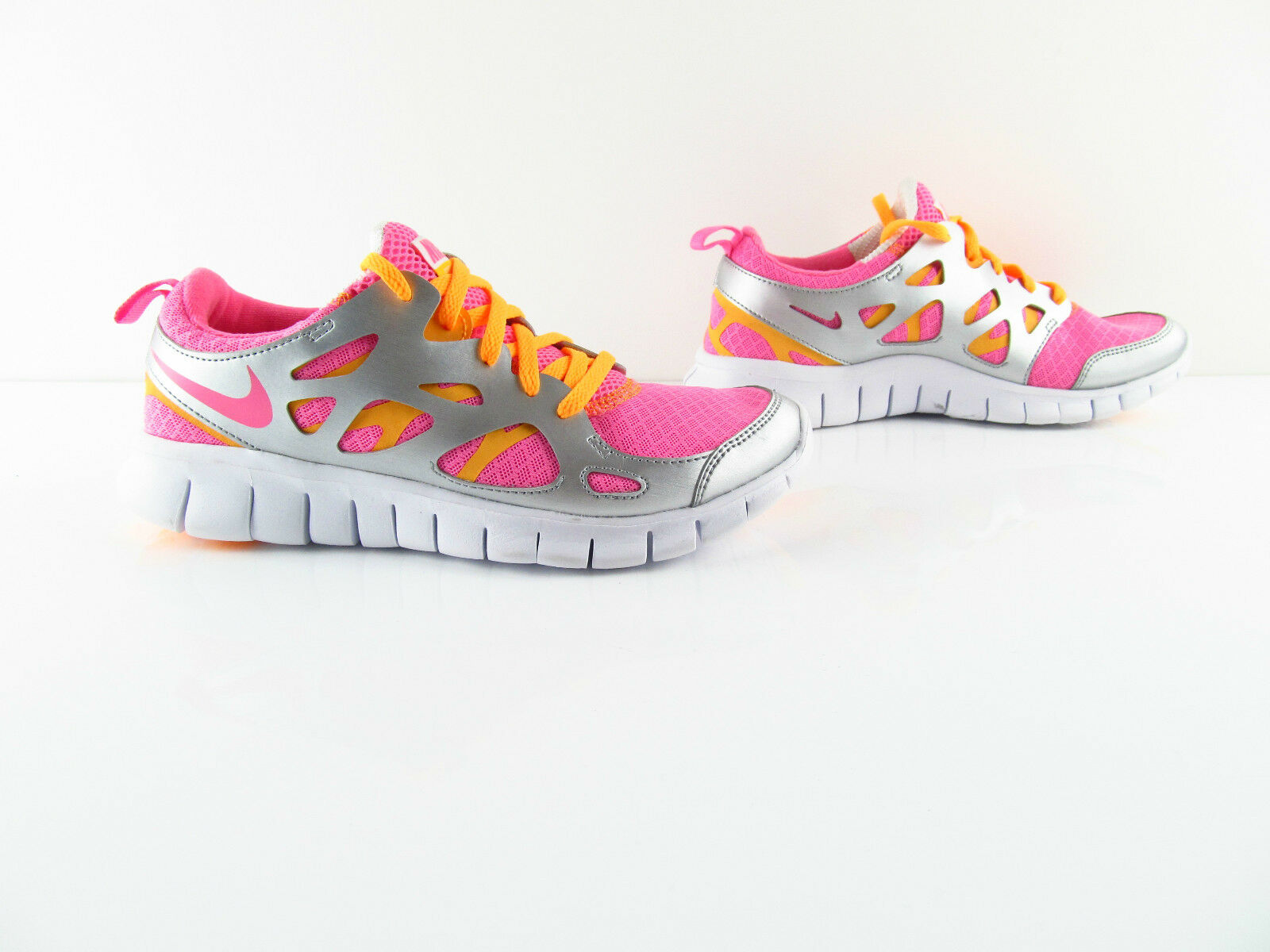 Nike Free Run 2 Vivid Pink Metallic Silver Running Bearfoot New 37.5 38