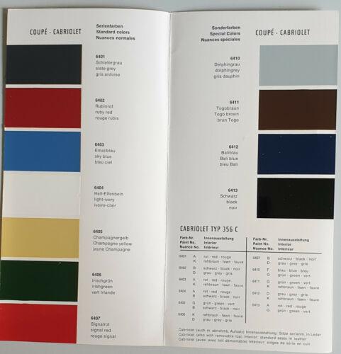 serie 1963 e colori speciali w15 40m 11.63 Mappa dei colori Porsche 356 C del 11