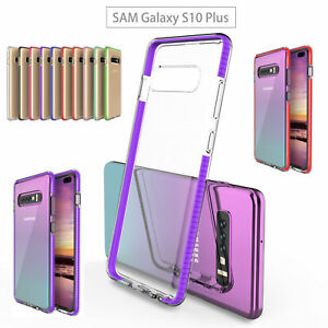 Details about For Samsung S10 /Plus A50 A70 Hybrid Colors Frame Soft Clear  TPU Full Cover Case