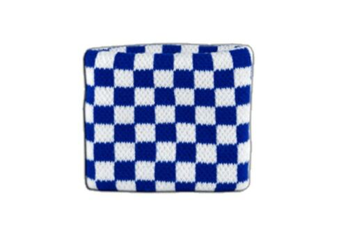 Schweißband Fahne Flagge Karo Blau-Weiß 7x8cm Armband für Sport