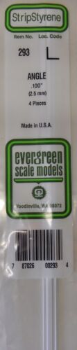"4 Pieces .100/"" Angle Evergreen Strip Styrene 293"
