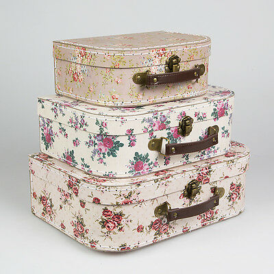 Vintage Floral Suitcases Set Of 3 Storage Boxes Choice Of School Suitcase Box